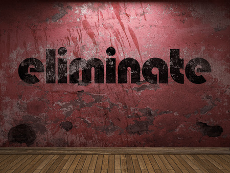 eliminate: eliminate word on red wall Stock Photo