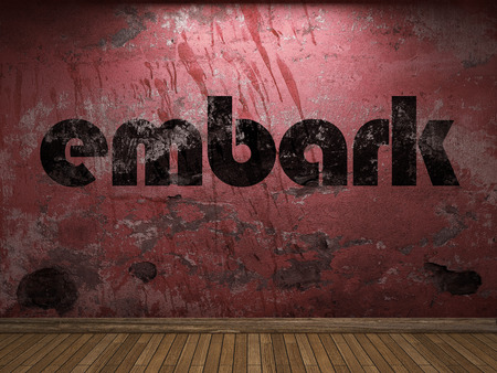 embark: embark word on red wall