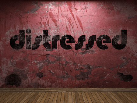 distressed: distressed word on red wall