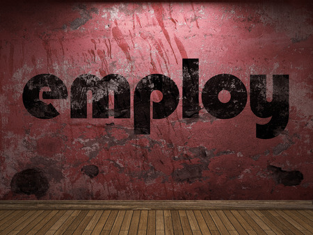 employ: employ word on red wall