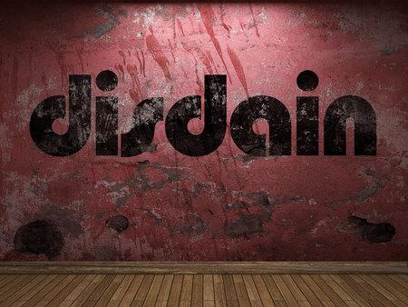 disdain: disdain word on red wall
