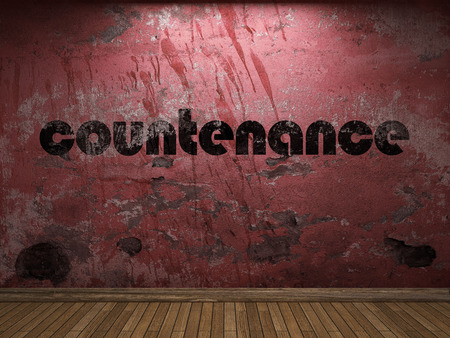 countenance: countenance word on red wall