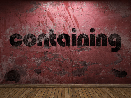 containing: containing word on red wall