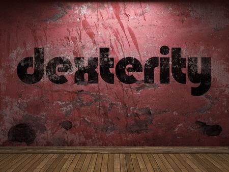 dexterity: dexterity word on red wall