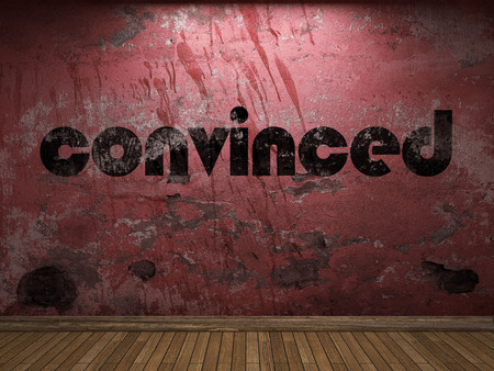 convinced: convinced word on red wall Stock Photo