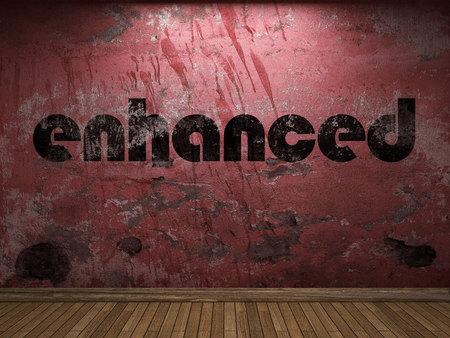 enhanced: enhanced word on red wall