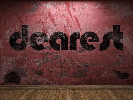 dearest: dearest word on red wall Stock Photo