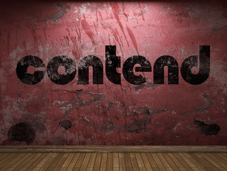 contend: contend word on red wall