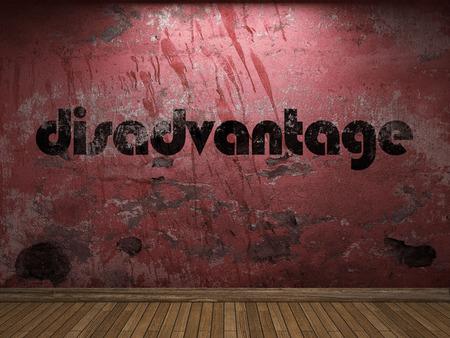 disadvantage: disadvantage word on red wall Stock Photo