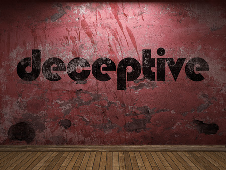 deceptive: deceptive word on red wall