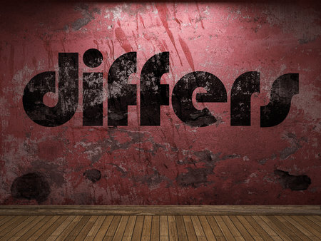 differs: differs word on red wall Stock Photo