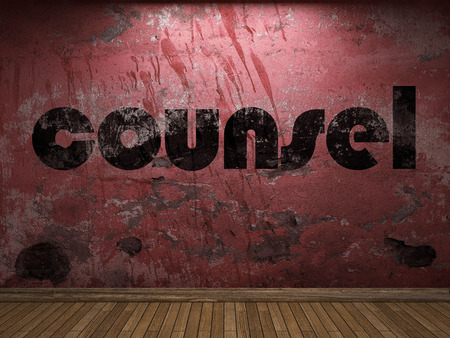 counsel: counsel word on red wall