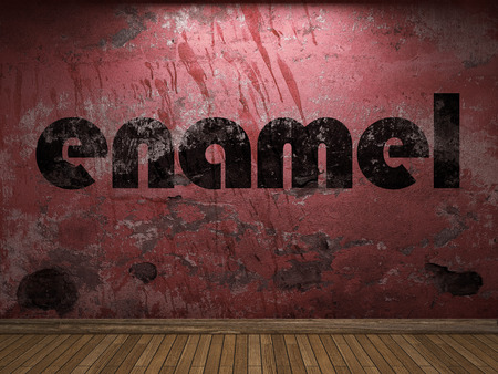 enamel word on red wall Stock Photo