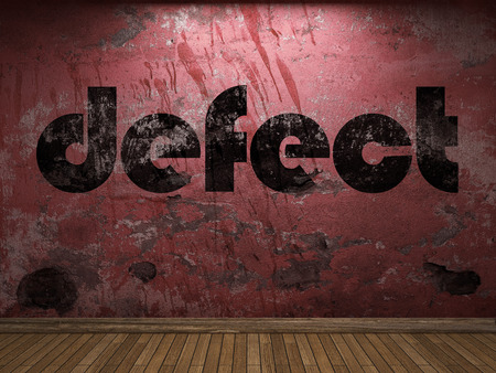 defect: defect word on red wall Stock Photo