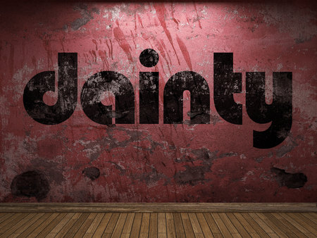 dainty: dainty word on red wall