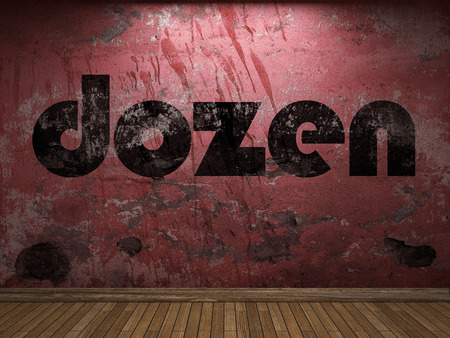 dozen: dozen word on red wall Stock Photo