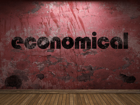 economical: economical word on red wall