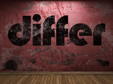 differ: differ word on red wall Stock Photo