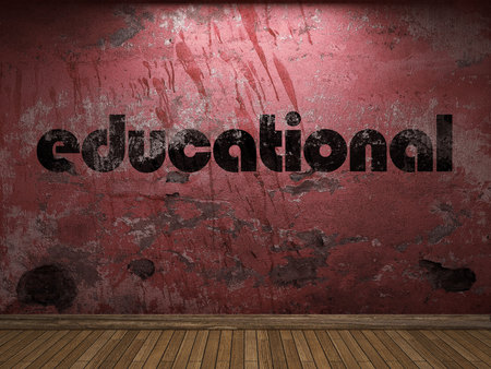 educational: educational word on red wall Stock Photo