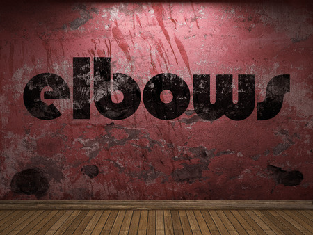 elbows: elbows word on red wall