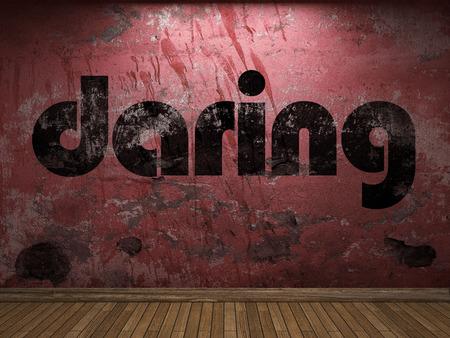 daring: daring word on red wall Stock Photo
