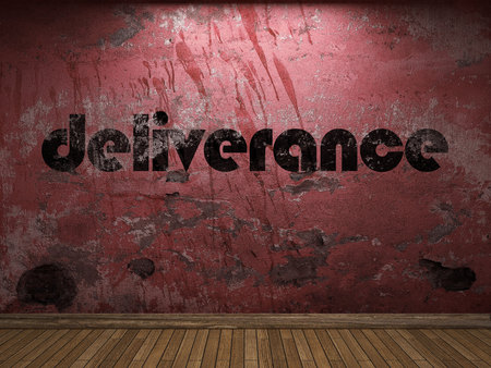 délivrance: mot de délivrance sur le mur rouge