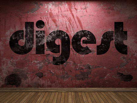 digest: digest word on red wall