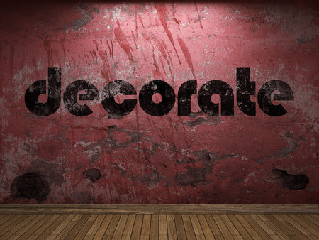 decorate: decorate word on red wall