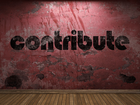 contribute: contribute word on red wall Stock Photo
