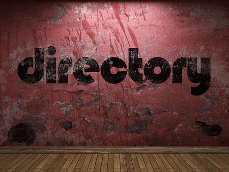 directory: directory word on red wall