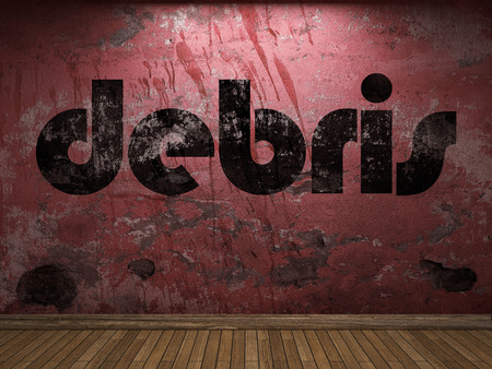 debris: debris word on red wall Stock Photo
