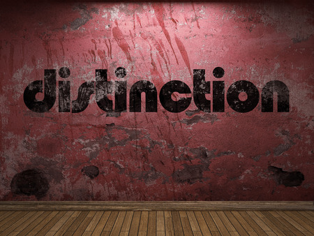 distinction: distinction word on red wall
