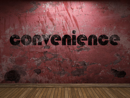 convenience word on red wall Stock Photo