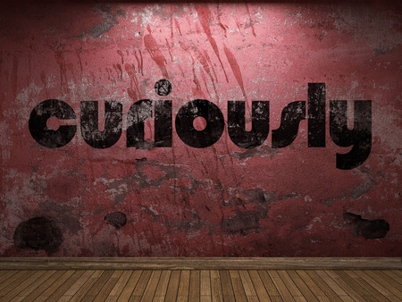 curiously: curiously word on red wall Stock Photo