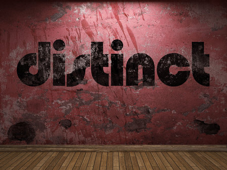 distinct: distinct word on red wall Stock Photo