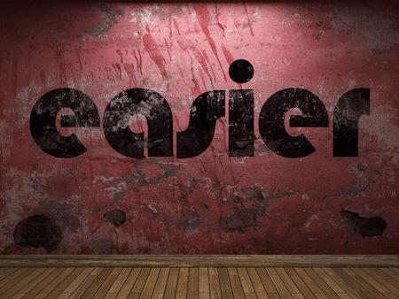 easier: easier word on red wall