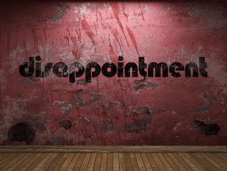 decepci�n: palabra decepci�n en la pared roja