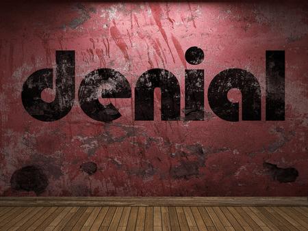 denial: denial word on red wall