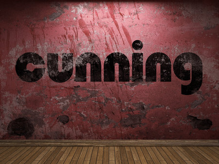 cunning: cunning word on red wall