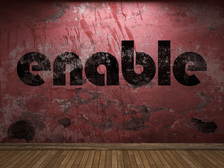 enable: enable word on red wall