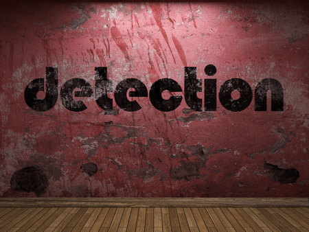 detection: detection word on red wall