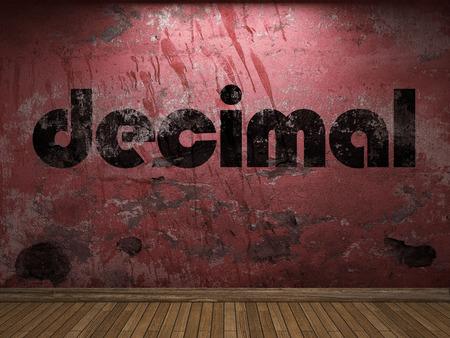 decimal: decimal word on red wall