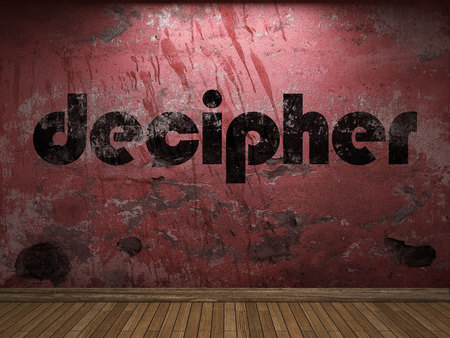 decipher: decipher word on red wall