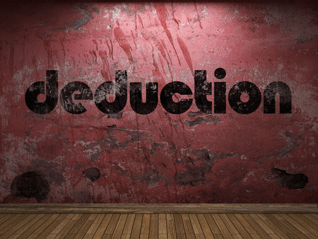 deduction word on red wall
