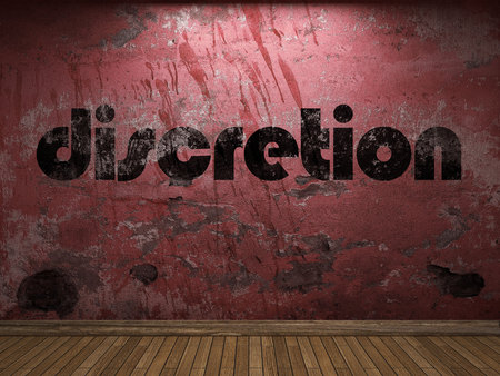 discretion: discretion word on red wall Stock Photo