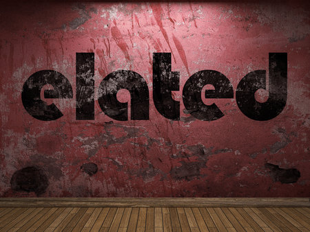 elated: elated word on red wall