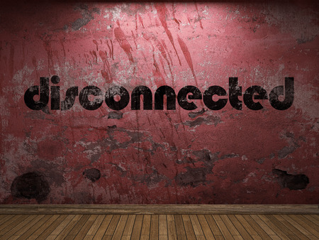 disconnected: disconnected word on red wall Stock Photo