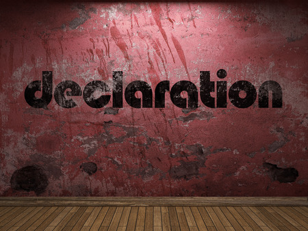 declaration: declaration word on red wall