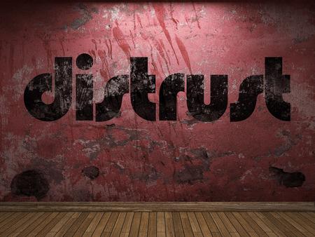 distrust: distrust word on red wall Stock Photo