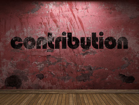 contribution word on red wall Stock Photo